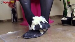 Cute Brunette in pantyhose gives footjob Thumb