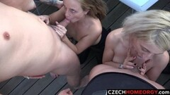 Sexy Beautiful Girls Sucking Cocks at Terrace Party Thumb