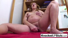 Pregnant blonde fucks herself with a toy Thumb