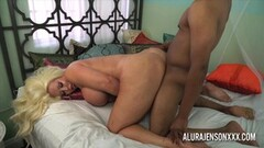 Alura Jenson jerks off a black cock with her hot feet Thumb