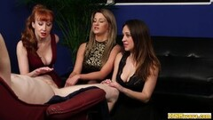 Raunchy babes share cfnm losers cock Thumb