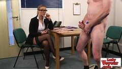 Hot office chick coaxes dude to jerk off Thumb