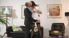 Naughty MILF nurse enjoys foreplay with older guy Thumb