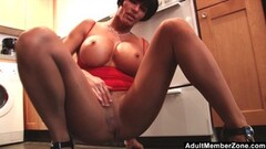 Fit Mom With Huge Tits Rubs Her Clit In The Kitchen Thumb
