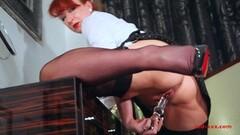Kinky Beautiful redhead milf Red XXX plays with her dildo Thumb