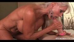 Granny Goes WILD over His Stiff Dick - See Mom Suck Thumb