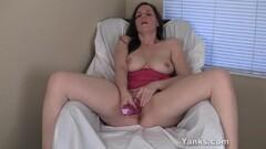 Sensual blonde Masturbating With The Shower Thumb
