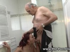 Redhead is fucked by her boyfriend followed by a grandpa Thumb