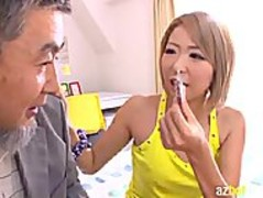 AzHotPorn.com - Japanese Maid Fucked by Dirty Old Thumb