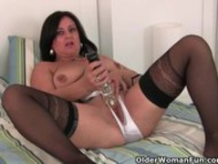 Hard nippled milf wears stockings and crotchless panties Thumb