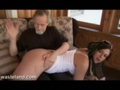 Wasteland Dungeon Master Spanks Jade Over Knee And Paddles With Wood Spoon Thumb