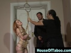 Redheaded bound hoe sucks dick and gets rammed in threesome Thumb