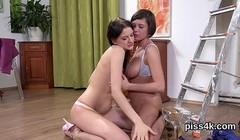 Cute lesbian teenies get splashed with and blast wet kitties Thumb