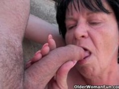 Ugly grandma with 1 inch nipples fucked outdoors Thumb