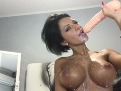 HOT HOT Anisyia Livejasmin blowjob, cumshot on huge tits Thumb