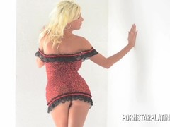 Blonde bombshell Puma Swede fingers her tight ass Thumb