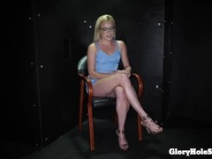Blonde gloryhole cocksucker eats so much cum Thumb