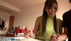 Japanese home teacher helps tiny dick student with footjob Thumb