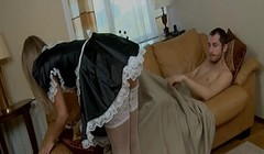 Sexy maid prepares her asshole for his cock Thumb