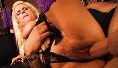 Two horny blonde on stocking nailed hard Thumb