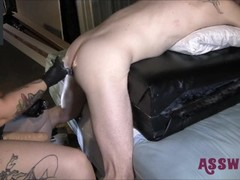 Tattooed Milf Bends Him Over And Gives Him A Rough Fisting Thumb