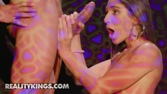 Reality Kings - Party girl Abella Danger deep throats and gags  and spits on cock Thumb