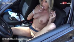 MyDirtyHobby - Busty German MILF outdoors solo masturbation Thumb