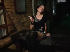 Emo girl smoking with pussy upskirt posing Thumb