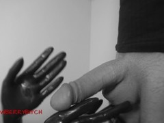 Femdom Handjob with latex glovers Thumb