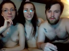 two glasses twins on cam with one guy Thumb