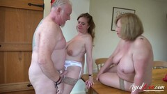 AgedLovE Two Matures and Handy Man in Threesome Thumb