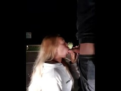 Tinder date sucking my dick in the parking lot at night Thumb