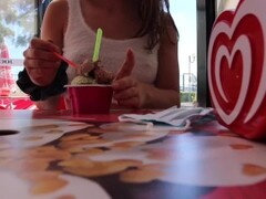 Girl Public Masturbation at Ice Cream Shop Thumb