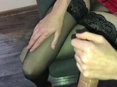 Slow handjob and massive cumshot on my sexy nylons Thumb